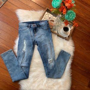 Blanc NYC medium light distressed jeans girls 14